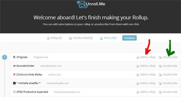 Unroll.me - configuring the rollup
